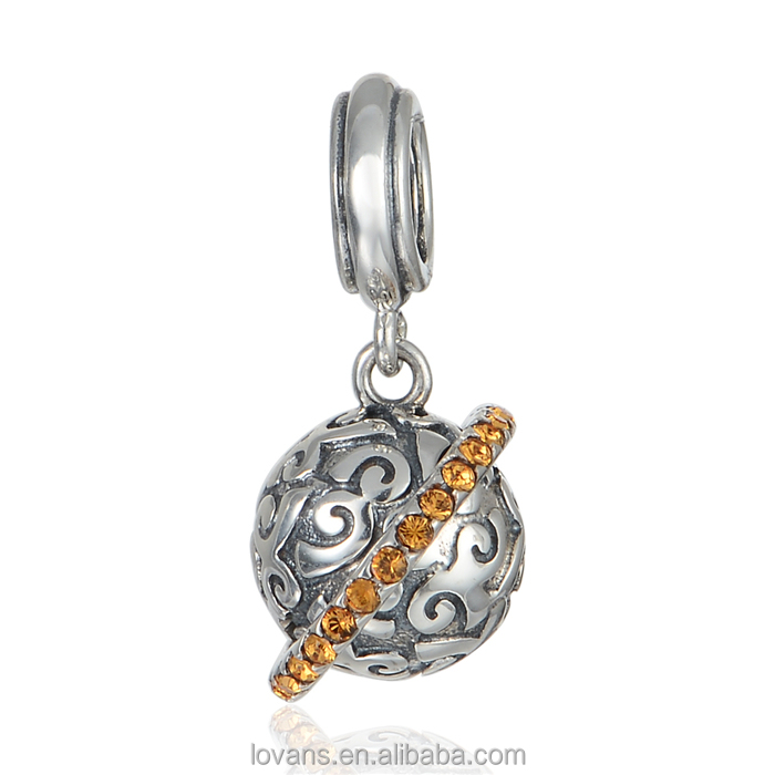 Fashion Pendant Jewelry Locket Pendant Silver Planet Charm Bracelet Jewelry S368