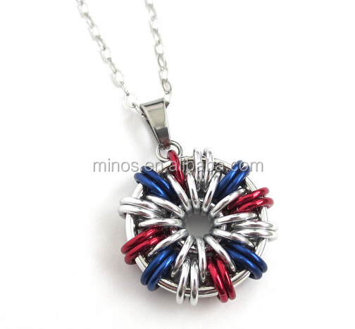 USA patriotic jewelry, red, white and blue necklace, chainmail pendant factory custom cheap jewelry