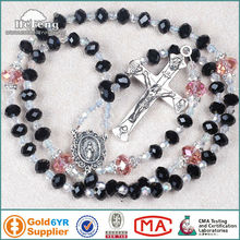faced crystal free rosary bead necklace
