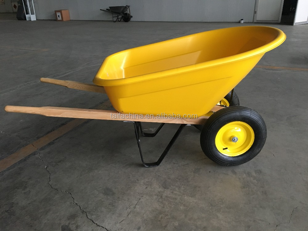 Wood handle yellow plastic 2-wheel garden wheel barrow WB8802