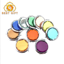Wholesale custom good quality pocket crystal glossy metal souvenir compact mirror