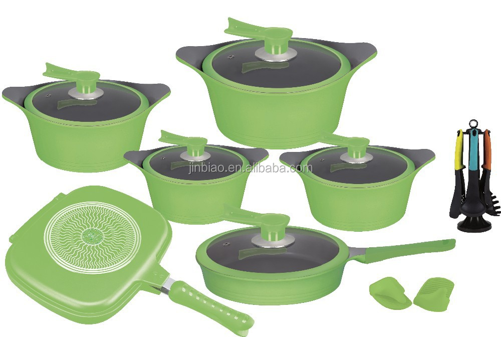 Casting aluminum green color ceramic coated cookware sets with CD bottom