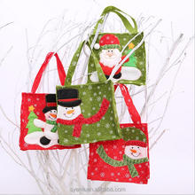 2017 fashion hotsell handmade crafts felt beautiful Christmas ornaments candy gift drawstring Christmas bag wholesale in bulk