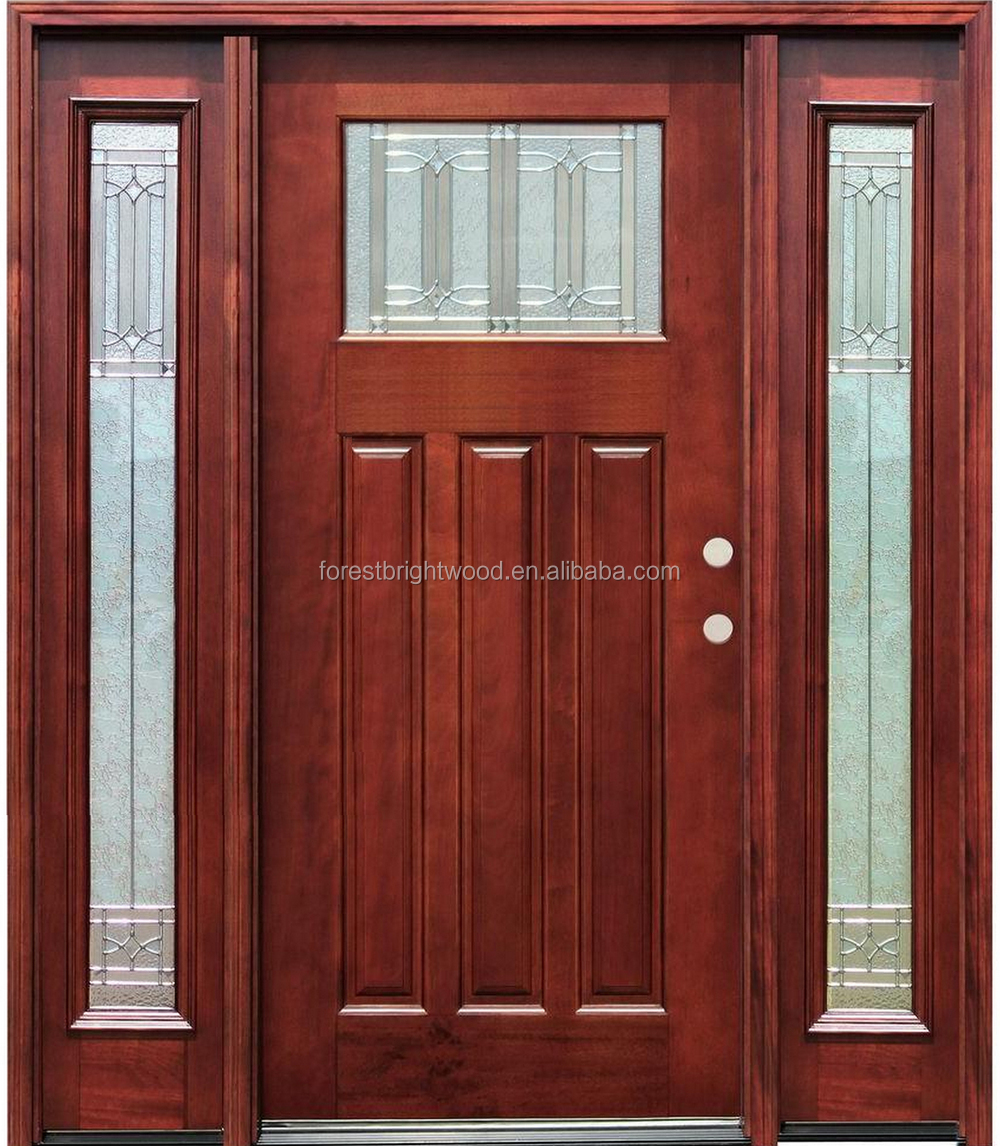 Exterior Stained Mahogany Prehung Double Solid Wooden Doors With 2 Side lites