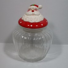 Santa Claus design glass Christmas candy jar with ceramic lid