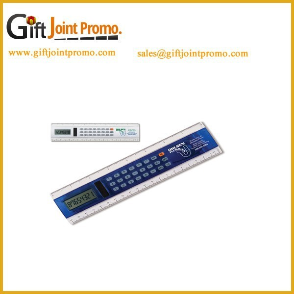 Promotional Wholesale Printed LOGO Ruler Calculator with Digital Clock