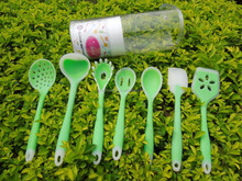 Food grade silicone spoon spatula kinds of kitchen utensils green kitchen utensil 7 items ladles