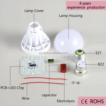 3W B22 Cheap Plastic LED Light Bulb Parts Plastic Spare part SKD CKD LED Bulb Fitting for India Market