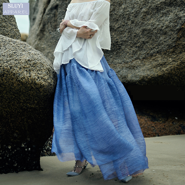 custom best sale beach drape expansion comfortable sky blue chiffon long skirt for women