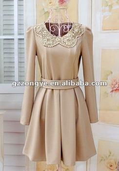 Lady dresses sweet & lovely nude color long sleeve