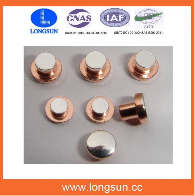 Custom Precision Electrical Trimetal Silver Copper Contact Rivets for Thermal Protector