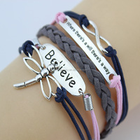 Wholesale Cheap Custom Handmade DIY Dragonfly Endless Charm Leather Wax Rope Woven Bracelets