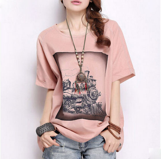 New Women Casual Summer Basic printed cotton t shirt loose blusas art T-shirt Top short sleeves O-neck fashion Plus Size M~XL