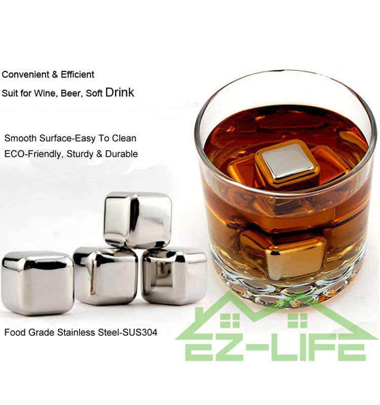Customized reusable stainless steel whiskey stones