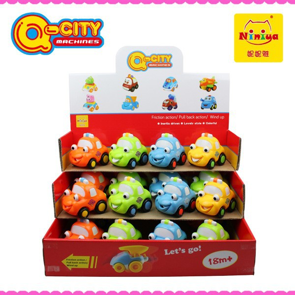 Q-CITY New plastic mini cartoon lovely inertial car toys