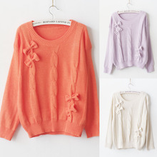 C83237A Japan sweet handmade bow pullover/2014 new fashion sweater/hot sale sweater