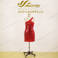 Bright sequin formal evening party package buttocks short prom red dress