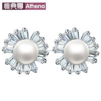 925 sterling silver pearl earrings diamond earrings crystal zircon creative clover earring jewelry shop agent