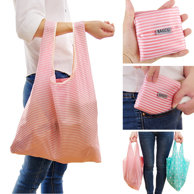 1 X Fashion Unisex Women Men Reusable Shopping Bag Grocery Star Dot Striped Handbags Tote Environmental Folding Bags