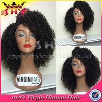 wholesale 100% human hair kinky curly peruvian full lace wig
