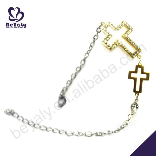 Christian cross gold color classic design stainless steel bracelet for sale