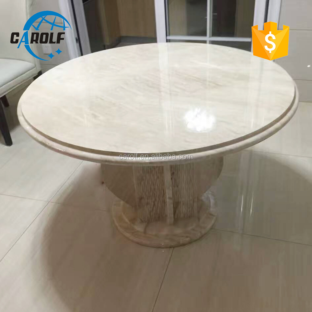 European style hand carved marble tables Dining room set marble slab round table