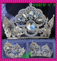 New designs rhinestone products white Para pageant full crown