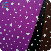Star design printed by transfer film cheap pvc synthetic leather for bags