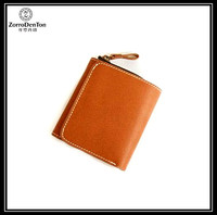 New design vegetable tanned leather coins purse/ mini wallet for ladies with zipper around