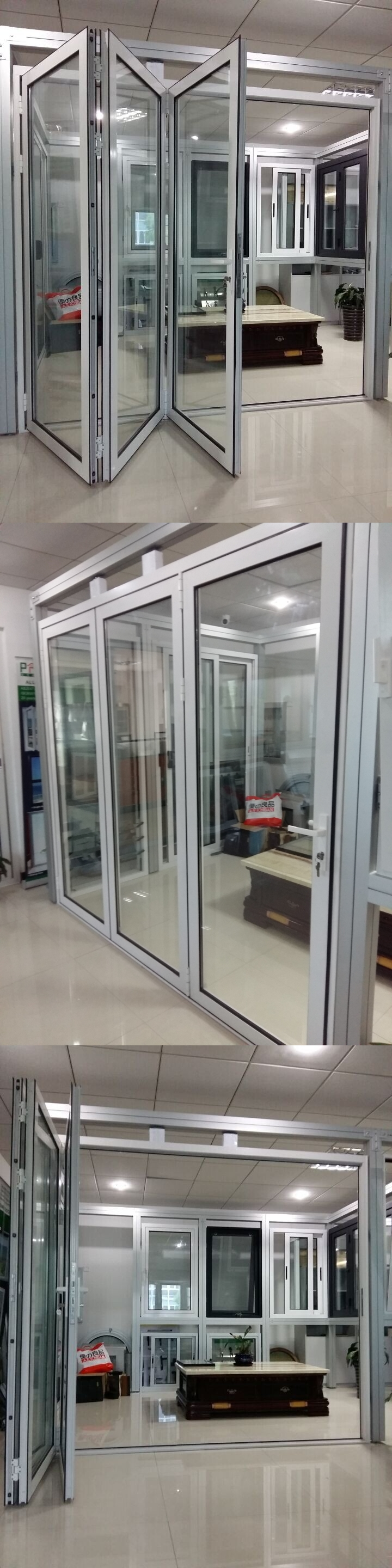 Double Low E Glass Insulated Aluminum Interior Temporary Folding Door Buy Double Low E Glass
