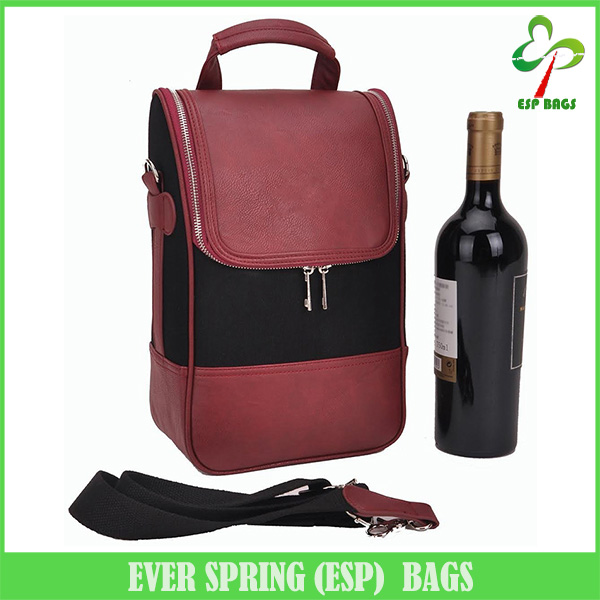 Classic design premium pu leather 2 bottle wine travel bag, wholesale wine bags with reinforced shoulder strap