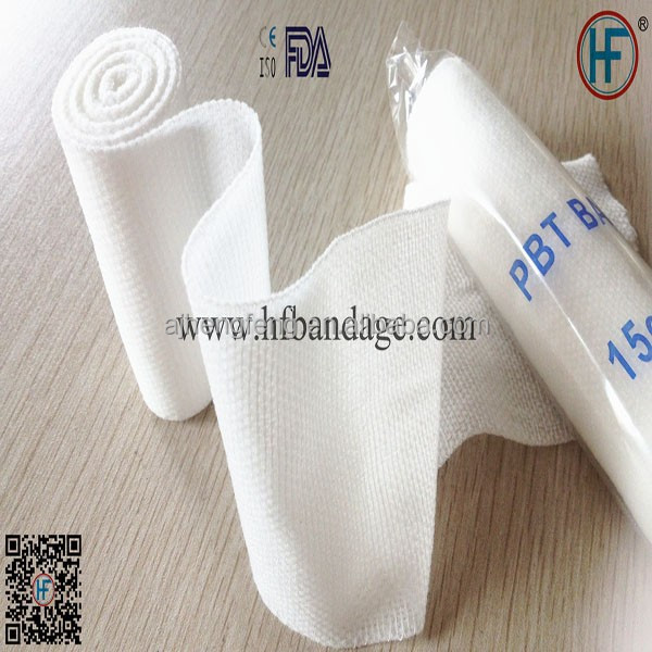 Surgical medical gauze conforming elastic plain (tabby) PBT bandage with or without clip 30G