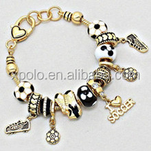 "8"" Length fashion black with white European beads sport them soccer charm bracelet jewelry/soccer shoes charm bracelet"