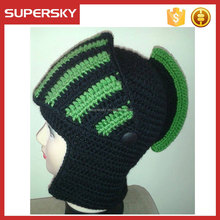 C318 factory supply hand crochet beanie helmet for baby children adult crochet knight helmet