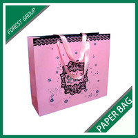 LARGE SIZE PINK COLOR PACKING PAPER BAG WITH RIBBON HANDLES WHOLESALE