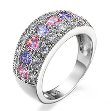 Fixed price sterling silver pink purple and white round cut cz zircon stone ring for women
