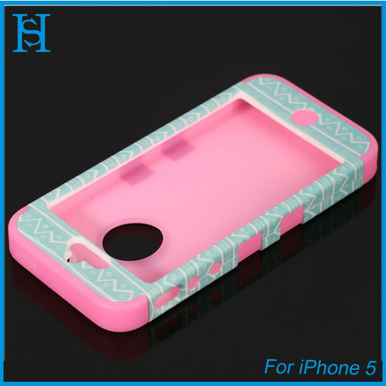 water transfer printing design PC silicone mobile case cover for iPhone 5
