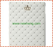 Luxury bling diamond crown leather case for ipad air 2