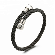 Fashion Silver Gold Black Steel Wire Stainless Steel Men Cuff Bracelet