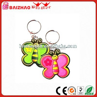 Pink Green Butterfly PVC Keychain