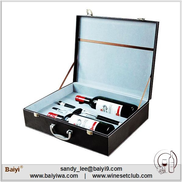 Luxury Unique Two Bottles Set Leather Wine Carrier