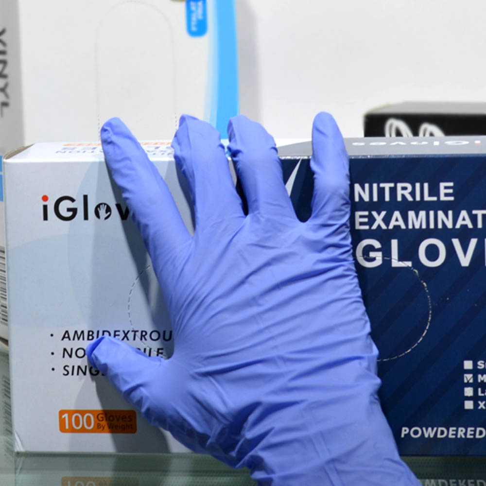 super quality cheap nitrile medical gloves disposable with blue color