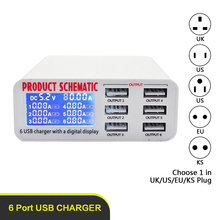 Multi Port Charging Station With Digital Display 6 Port USB Home Charging Chargers For Smartphone