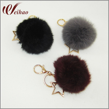 fashion Rabbit Fur Key Ring Ball with star ornament women Keychain Bag Key Hanging Accessories