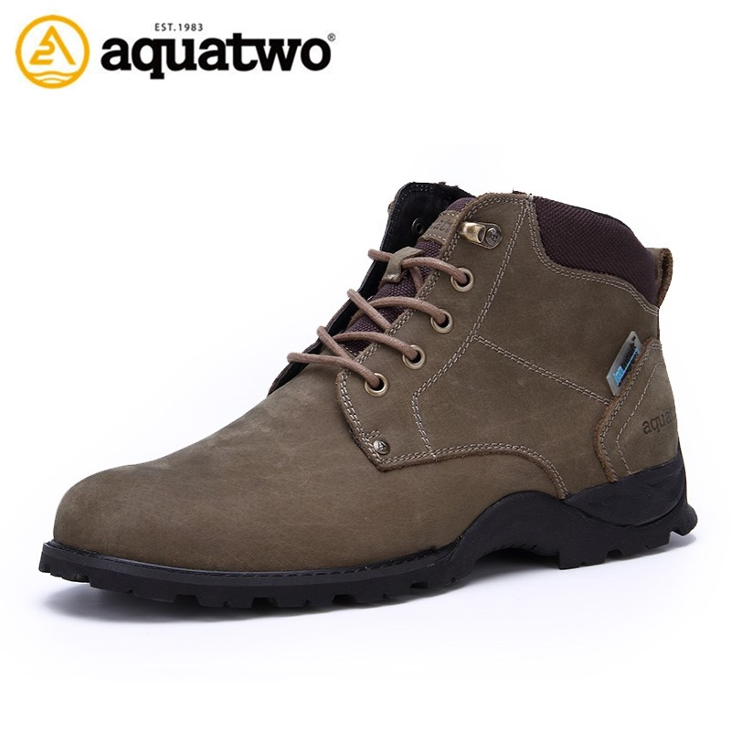 Aquatwo Brand Men Full Grain Leather Sports Boots for Walking and Hiking