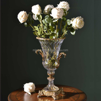 Europe Style crystal Glass Vase with Brass Compote and Home Decoration Art