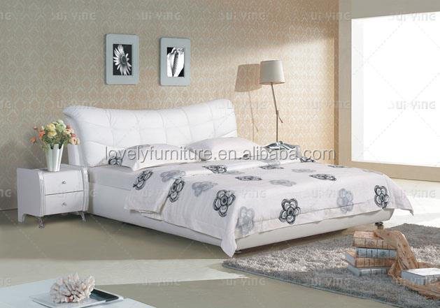 White genuine leather cover simple design couple bed sets S185