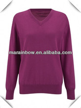 2014 spring fashion v-neck pullovers , women's magenta plain design golf sweater