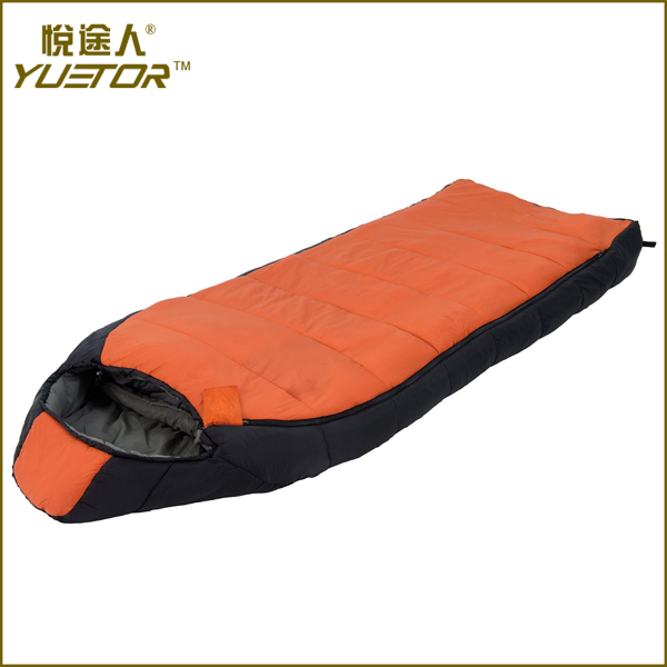 210T polyester hollow fiber sleeping bag for camping and travel
