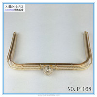 P1168 shining stone lady hinged cluthc bag metal frame flex purse and wallet fashion lady bag frame